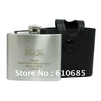 Wholesale Leather Case OZ Hip Flask Stainless Steel Flagon Personalized given to making Wedding
