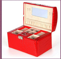 Wholesale European Can Side Door Double Large Capacity Jewelry Box Fashion Crocodile Grain Jewelry Box K8528
