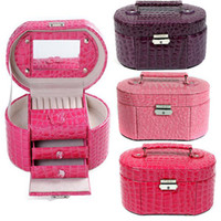 Wholesale Boxes with Mirror Crocodile Leather denier form layer jewelry box K8527