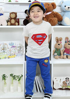 2-7 year old  kids sweat suits - Handsome boys suit Hot selling kids super man amp sweat short shirts blue long pants summer hot