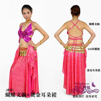 Women Belly Dancing Chiffon Tribal belly dance practice women wear costumes skirt+bra sets the Butterfly bra tops bronzing ears