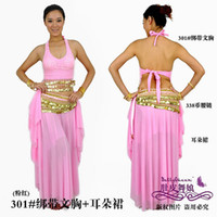 Wholesale Belly dance Parure tribal belly dancing costumes top skirt hip scarf ear skirt set women wear ears