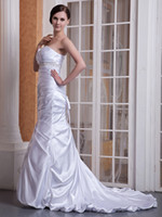 Model Pictures Strapless Elastic Satin 2013 New Grace Stretch Satin ruga Sleeveless The fish tail type Lace-up Court Train Wedding Dresses