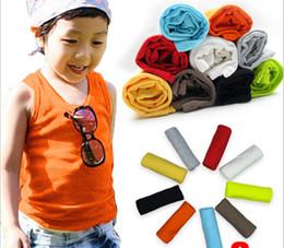 Wholesale Children Tank Tops baby waistcoat kids all cotton H the vest boys base shirt candy color shirt