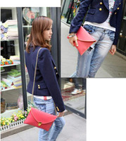 Wholesale Women s fashion Envelope Clutch Chain Purse Lady Handbag Messenger Tote Shoulder Hand Bag Candy Colo