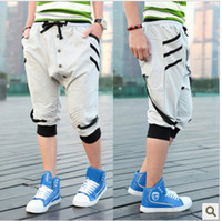 Wholesale Three dimensional breasted ribbon harem capris male sports pants