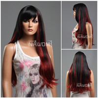 good quality wigs - long red wigs with a bang synthtic hair wig petite size wigs good quality wigs S678 TT39