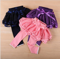 Wholesale Girls Ribbon Lace Fashion Tiered Tulle Culottes Kids Colorful Solid Pantskirt Spring Pants