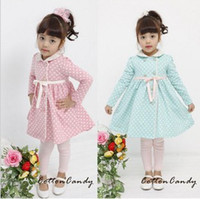 Tench coats Girl 100% Cotton 2014 Hot Sale Girls Coats Children Lace Collar Fashion Trench Coats Children's Single Breasted Polka Dot Coats