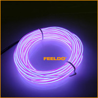 Wholesale 20pcs degrees Rotating Purple m ft Flexible EL Neon Glow Lighting Rope Strip Charger for Car Decoration