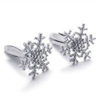 Wholesale Free shiping Hot sale Fashionable jewelry women s copper Plating snowflake Cuff Links