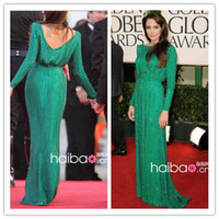 Wholesale Oscar Star Angelina Jolie Green Cap Sleeve Straight Crysta Celebrity Dresses FG
