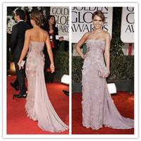 Wholesale Custom made Jessica Alba Strapless Lavender Evening Gown Celebrity Dress Golden Globes FG