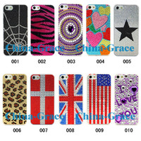 Wholesale Hot Sale Diamond Bling Case Plastic Hard Back Cover Crystal Rhinestone For iPhone iPhone5