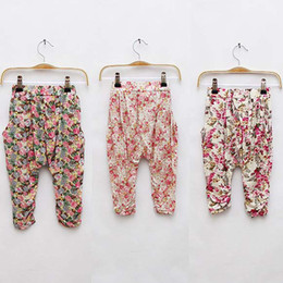 Wholesale Girl Clothes Fashion Trousers Children Summer Casual Pants Cropped Trousers Tapered Flower Pants