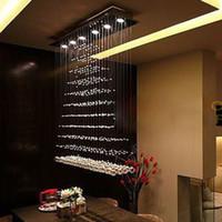 Wholesale hot sales rectangular L100 W20 H100cm modern crystal chandeliers lustres de cristal LED lamp dinning room bedroom light