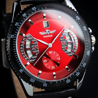 Sport automatic sports cars - Vogue sports car F1 Automatic Mechanical Leather Date Dials Wrist Men s Watch Auto Colors