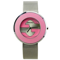 Women's Analog Stainless Steel Fashion Lady! Simple Novel Metal Band Round Dial Quartz Movement Wrist Watch -Pink