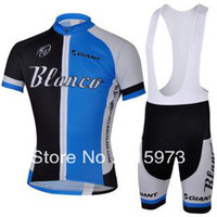 Wholesale New Styles For Shopping Blanco GIANT Team Blue Cycling Short Jersey Bib Shorts Cycling