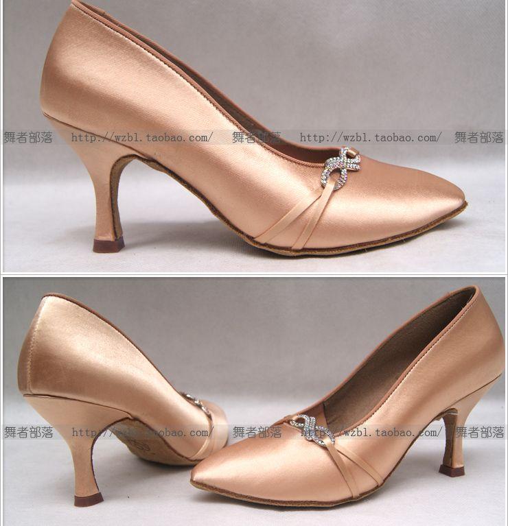 Pink Satin Rhinestone Ladies Latin dance shoes ballroom dancing