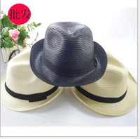 Wide Brim Hat beaches couples resorts - Miss Xia Tiannan sun straw hat jazz hat visor couple cap beach hat