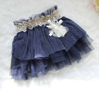Wholesale Pleated Skirt Girls Cute Lace Skirts Tutus Tiered Skirts Fashion Pearl Flower Chiffon Princess Skirt