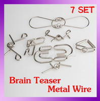 Wholesale 7 Sets IQ Test Toys Metal Wire Mind Game Brain Teaser Puzzles Magic Trick Toy