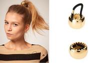 Wholesale Europe Women s Rock Golden Metal Circle Ring Hair Bands Cuff Wrap Ponytail Holders