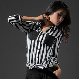 Wholesale New Design Black White Stripe Blouse Lapel Long Sleeve Chiffon Blouse Ladies Work Tops