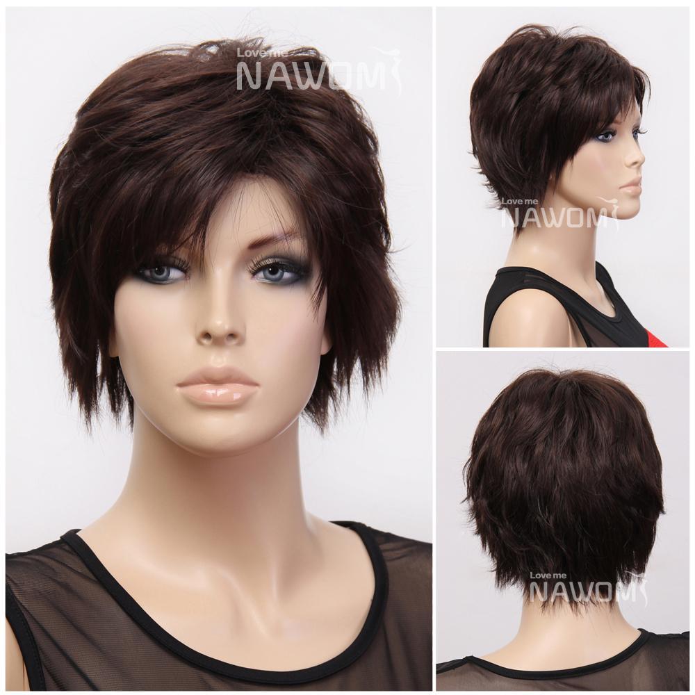 Cheap Short Wigs Dark Brown Hair Wig Miss Wigs Synthtic