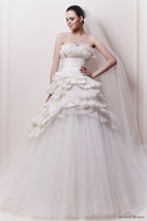 Wholesale Zuhair Murad Classic A line Scalloped Ruched Zipper Floor Length Wedding Dress
