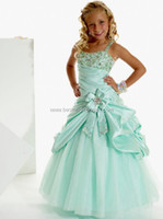 Organza Spaghetti 2013 Spagehtti Straps Organza Sage Little Girl Pageant Dresses Beaded Ruffles Ball Party Gown 13263