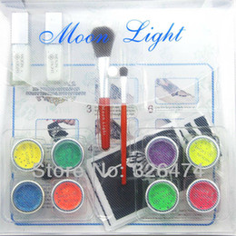 Wholesale UV Glitter tattoo kit UV powder glue tube brush stencil