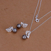 Wholesale S196 Hot Silver Butterfly Purple Pearl Earring amp Necklace Jewelry sets Brand New XMAS Gift