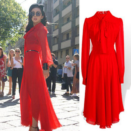 Wholesale 2013 New Retro Star Dress Lace Up Neckline Puff Long Sleeve Red Dress Maxi Evning Dress