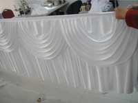 Wholesale 13FT White Color Ice Silk Table Skirting With MAGIC TAPE For Wedding Banquet Hotel Use