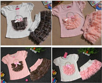 Wholesale baby clothes set Short sleeve bowknot flower basket Tshirt tutu dress girls suit kids outfits