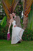 Wholesale Classic Beach Informal Wedding Dresses A Line Strapless Hi Lo Tea Length Lace Bridal Gowns
