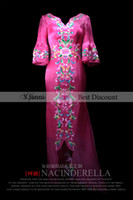 Wholesale Custom Made V neck Embroidery Sleeves Drop dead Gorgeous Floor Length Evening Dress