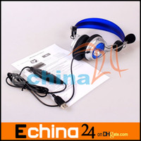 Wholesale 100pcs New Blue Deluxe HI FI USB Headphones Headset with Microphone for PC Laptop Notebook