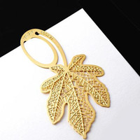 Wholesale Gold plated lovely bookmarks maple leaf Design per