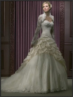 Wholesale 2013 Strapless Floor Length Lace jackst Ball Gown long sleeve Taffeta Chapel Train Wedding Dresses