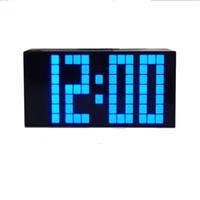 Grandes relojes de pared azul España-Grandes Jumbo LED reloj pantalla de pared digital azul más ligero temporizador calendario de clima despertadores pantalla