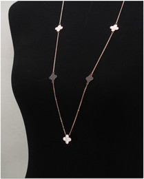 Ladies Luxury 14K Rose Gold Palted Four Leafs Clovers White Black Shell Lucky Flower Coat Sweater Chain Necklace,Ladies Favorite Gift