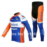 Wholesale Rabobank Team Cycling Winter thermal long sleeve jersey bike Jacket Pants Sets ci
