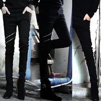 Wholesale 2013 male black zipper slim jeans men s casual skinny jeans