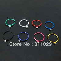 Wholesale G nose stud Stainless Steel Electrophoresis colors circular shaft gem crystal piercing nose ring