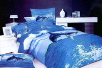 Woven animal bedspreads - 3D Blue dolphin animal bedding print comforter set sets queen size bedspread duvet cover sheets bed in a bag sheet quilt linen home texile