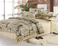Adult 100% Cotton Woven English Newspaper bedding comforter set queen size comforters sets bed sheet quilt duvet cover bedspread bedclothes bedsheet 100% cotton