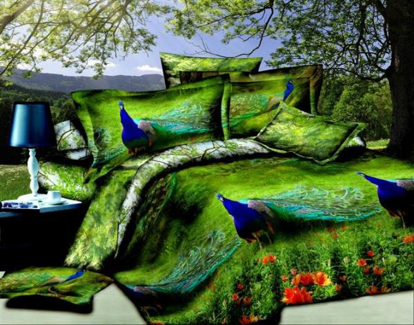 3d Green Peacock Bird Feather Design Print Bedding Sets